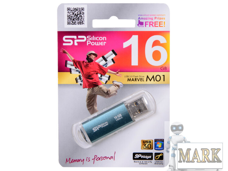 USB-флэш 16 ГБ SiliconPower Marvel M01 (SP016GBUF3M01V1B); USB 3.0; синий